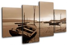 Lake Boats Sunset Seascape - 13-0976(00B)-MP04-LO
